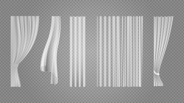 透明なカーテン。ウィンドウホワイトシルクテキスタイル、フライングファブリック。インテリア装飾ベクトルイラストの軽いティッシュやリアルなベール。カーテンデコレーション、カーテン掛け、リアルなインテリア