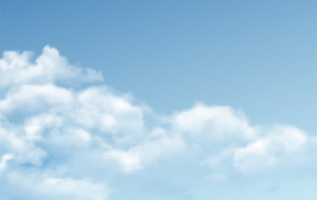 Прозрачные разные облака на синем фоне. реальный эффект прозрачности.