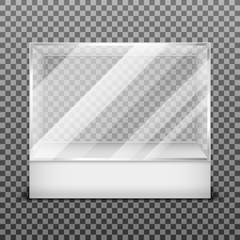 Transparent display glass box isolated on checkered background. empty container for exhibition in ga