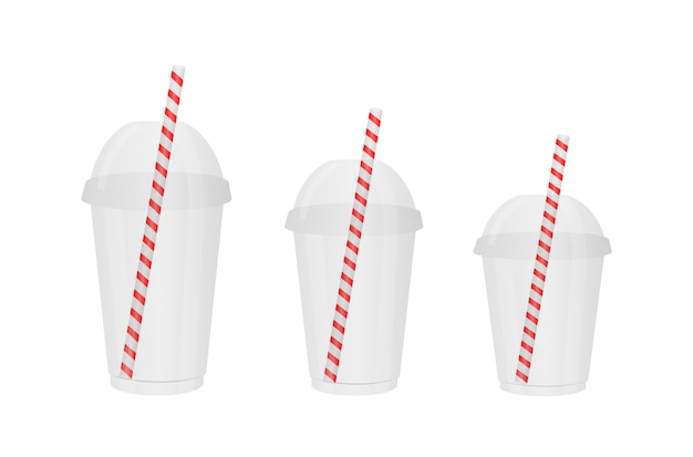 Transparent disposable plastic cups of different sizes.