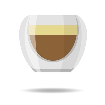 Transparent double wall glass mug with espresso coffee vector illustration isolated on white