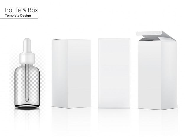 Косметика и коробка прозрачной бутылки капельницы реалистическая для продукта skincare на белой иллюстрации предпосылки. здравоохранение и медицинская концепция дизайна.