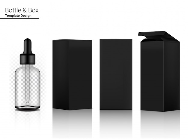 Transparent dropper bottle  realistic cosmetic and box for skincare product on white background illustration. health care and medical concept design.