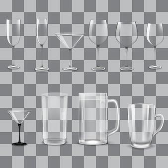 Набор прозрачных пустых стаканов