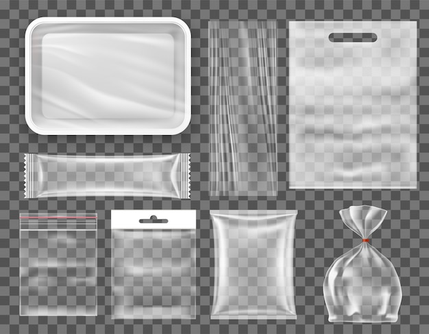 Transparent empty plastic food packaging set, snack production mockup.