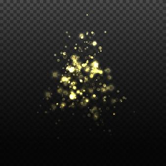 透明な落下黄金粒子の図