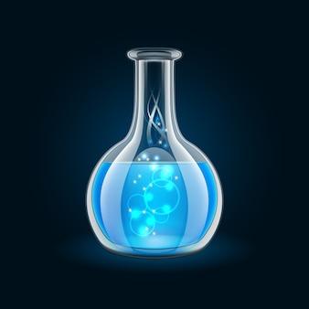 魔法の青い液体が入った透明なフラスコ