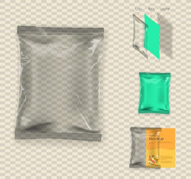 투명한 음식 스낵 베개 가방. 투명 한 배경에 그림입니다. 디자인을위한 포장 준비.