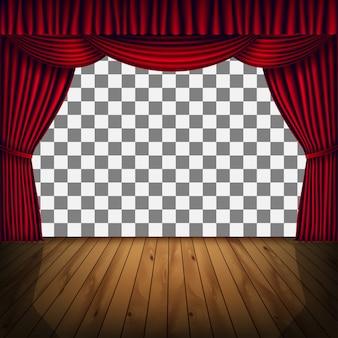 Прозрачная рамка сцены с красной занавеской