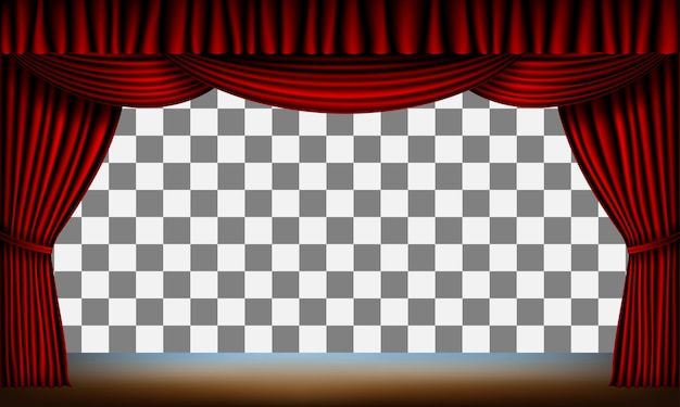 Transparent frame of stage with red curtain