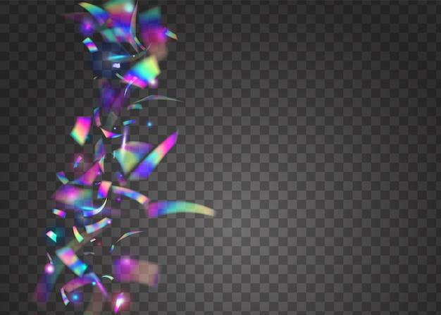 Прозрачный блик. неоновый эффект. дискотека. голубая ретро текстура. современное искусство. фольга webpunk. радужная мишура. шаблон партии рождества. фиолетовые прозрачные блики