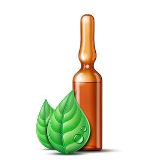 백신 또는 약물 치료 용 투명 유리 앰플과 두 개의 녹색 잎. 약국, 동종 요법 및 대체 의학에 대한 잎 제약 기호. 벡터