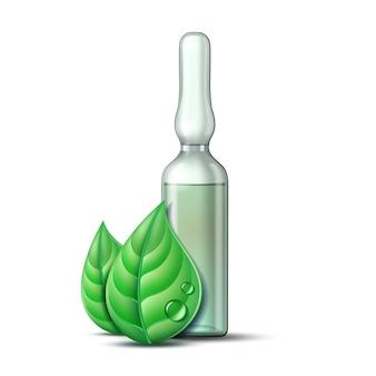ワクチンまたは治療用薬物と2つの緑の葉が入った透明なガラス製アンプル。薬局、ホメオパシーおよび代替医療のための葉と医薬品のシンボル。