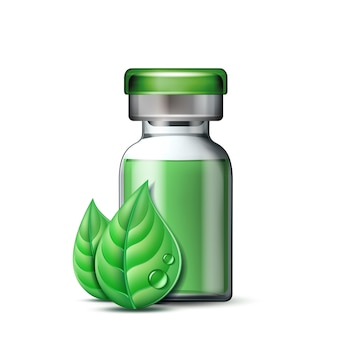 Прозрачная стеклянная ампула с вакциной или лекарственным средством для лечения и двумя зелеными листьями. фармацевтический символ с листом для фармацевтической, гомеопатической и альтернативной медицины.