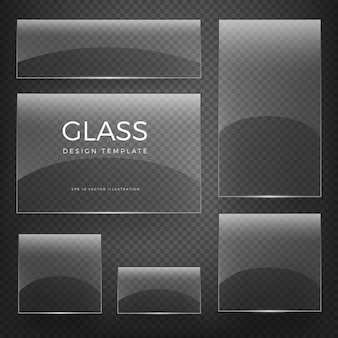 Transparent glass blank vertical and horizontal glossy empty banners and cards on checkered background