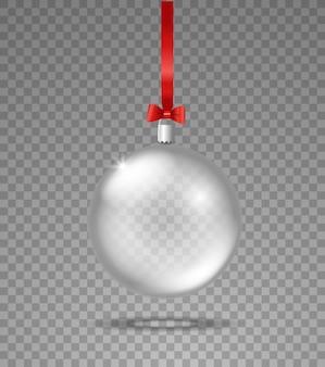 透明な背景に分離された透明なガラスのクリスマス安物の宝石オブジェクト
