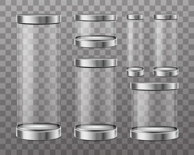Transparent glass cylinders