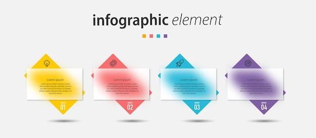 透明ガラス効果ビジネスクリエイティブインフォグラフィックテンプレートデザイン
