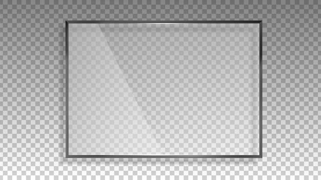 투명한 유리 프레임. 광택 광택 패널, 직사각형 3d 창. 반사 광선 모양 벡터 일러스트 레이 션. 반사 모양 플라스틱, 가벼운 직사각형 유리, 반짝이는 빈 광택