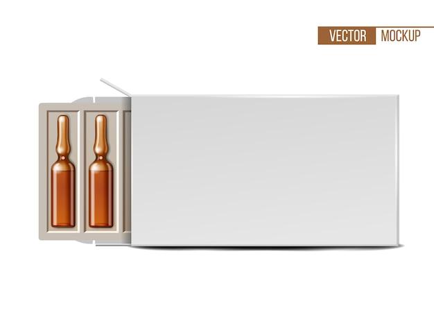 白いパッケージの透明なガラス医療アンプル