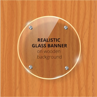 Transparent glass plate . brown wooden background. decorative element. plastic glossy panel with reflection, shadow.