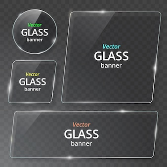 Transparent glass plate set. see through banner. plastic banner with reflection and shadow.
