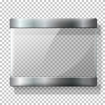 Transparent glass plate with metal holders, for your signs, on wplaid background.