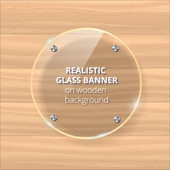 Transparent glass plate . yellow wooden background. decorative element. plastic glossy panel with reflection, shadow.