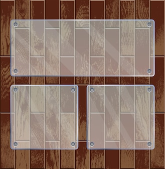 Transparent glass plates on wooden textured