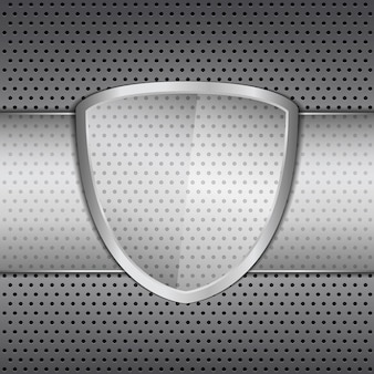 Transparent glass shield on metal background,