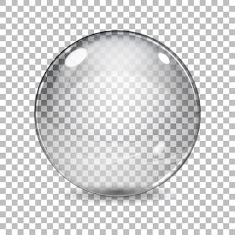 格子縞の背景に影のある透明なガラス球