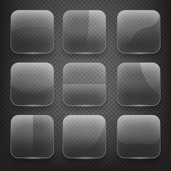 市松模様の背景に透明なガラスの正方形のアプリボタン。空の、光沢のある、光沢のある空白。ベクトルイラストアイコンセット