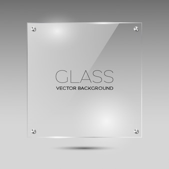 Transparent glass square frame