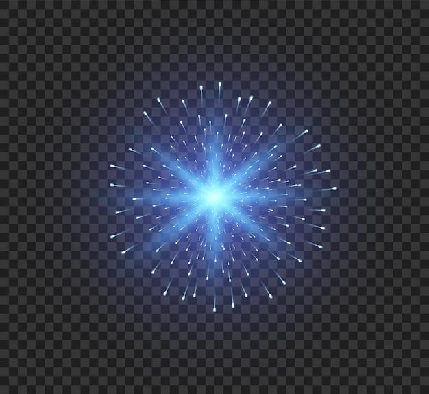 밝은 광선으로 투명한 광선 조명 효과. 별은 반짝임과 하이라이트로 폭발했습니다.