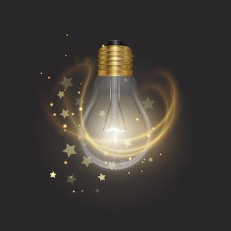 Прозрачная светящаяся электрическая лампочка с золотым цоколем в реалистичном стиле