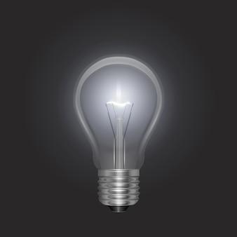Прозрачная светящаяся электрическая лампочка с серебряным цоколем в реалистичном стиле
