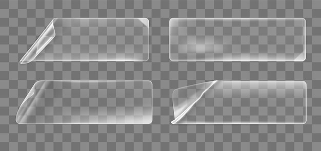 Набор прозрачных наклеенных скомканных прямоугольных наклеек с загнутыми уголками.