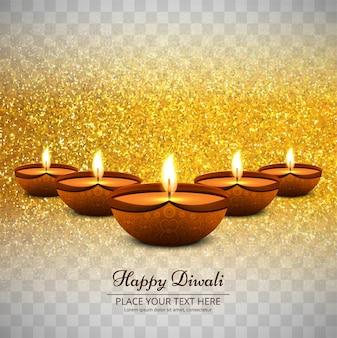 Transparent golden glitter diwali design