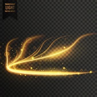 輝く黄金の透明な光の効果の背景