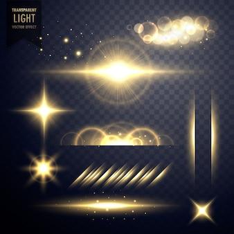 透明なゴールデンセットのレンズフレア光効果ベクトル
