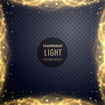 透明な黄金の輝きライト効果の背景