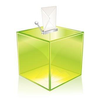 Прозрачная зеленая урна для голосования.