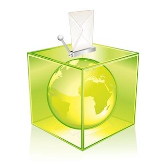 Прозрачная зеленая урна для голосования, голосование за землю
