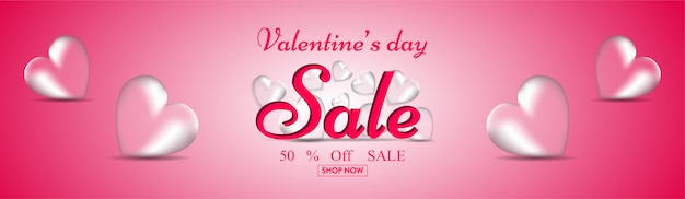 Transparent heart shapes with 50% discount offer on glossy pink