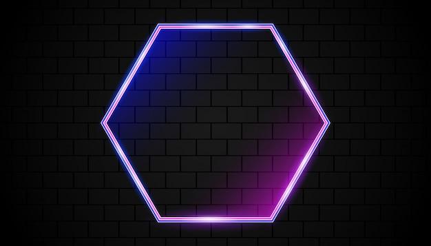 ネオングロー付きの透明な六角形フレーム
