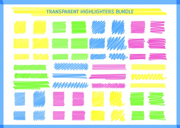 Transparent highlight pen square marks set vector