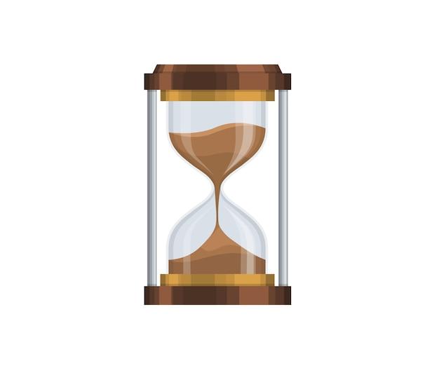 透明な砂時計、砂ガラス、砂時計、フラットなデザイン。