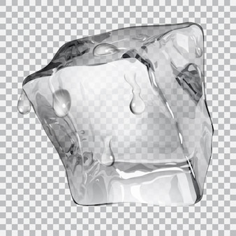 Transparent ice cube with water drops in gray colors