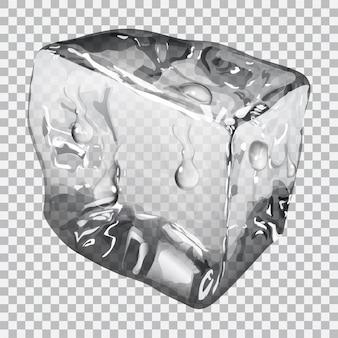 Прозрачный кубик льда с каплями воды в серых тонах