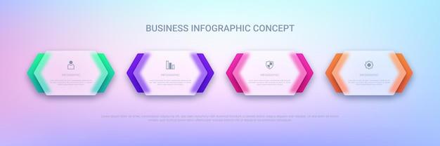 Прозрачный инфографический шаблон для бизнеса с четырехступенчатыми этикетками